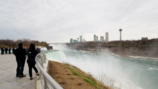 Tourists By Niagara Waterfall