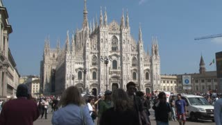 Tourists in Front of Duomo in Milan