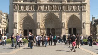 Tourists in Front of Notre Dame
