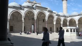 Tourists in Suleymaniye Mosque Courtyard 2