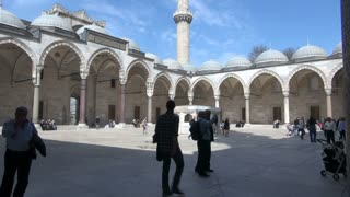 Tourists in Suleymaniye Mosque Courtyard