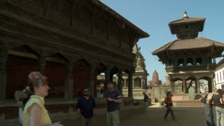 Tourists Observe Temple in Nepal