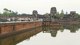 Tourists visiting the Ancient ruins around the Temple of Angkor Wat, Cambodia, Asia, T/Lapse