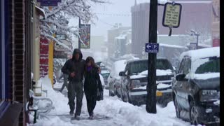 Tourists Walk Through Heavy Snow In Park City Utah
