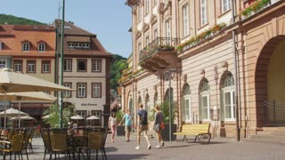 Tourists Walking in Heidelberg City Square