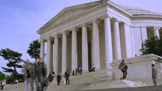 Tourists Walking Steps of Jefferson Memorial