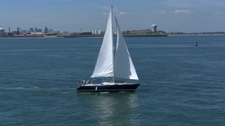 Tracking Around Racing Sail Boat In Boston Harbor