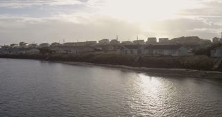 Tracking Shot of a Coastal Suburb