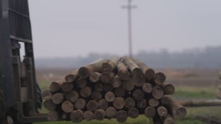 tractor lifting logs from pile