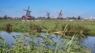 Traditional windmill at Zaanse Schans, Amsterdam, Holland