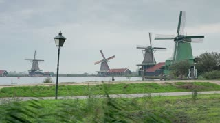 Traditional windmills at Zaanse Schans, Amsterdam, Holland