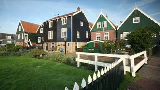 Traditional wooden houses in the village of Marken, Nr. Amsterdam, Holland, Netherlands