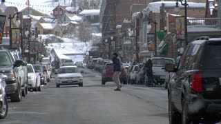 Traffic And Snow Falling On Main St, Park City Utah