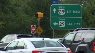Traffic and Street Signs After Storm