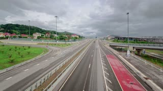 Traffic on highway Road M-27 timelapse at cloudy day Sochi Adler, Russia 4K