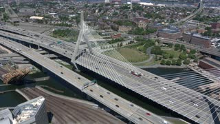 Traffic On Zakim Bridge, Boston, Aerial Shot