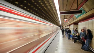 Train arriving at a Modern Underground Station in Prague, Czech Republic, Europe, T/Lapse