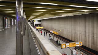 Train at a Modern Underground Station in Prague, Czech Republic, Europe, T/Lapse