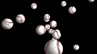 Transparent Flying Baseballs Alpha Channel Loop