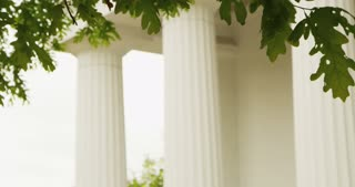 Trees Rustling in Breeze in Front of White Columns