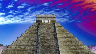 Trippy Sky Over Mayan Pyramid