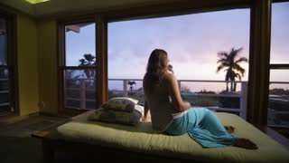 Tropical Island Getaway With Beautiful Girl Looking Out Window
