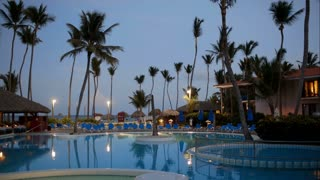 Tropical resort area in a quiet, summer evening, luxurious restourant near swimming pool