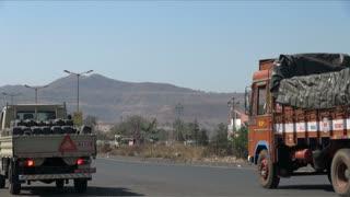 Trucks On India Roadway