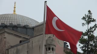 Turkish Flag Blowing in Front of Hagia Sophia Dome 1
