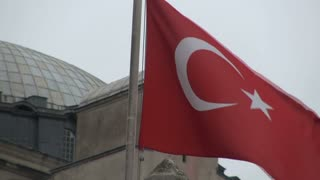 Turkish Flag Blowing in Front of Hagia Sophia Dome 2