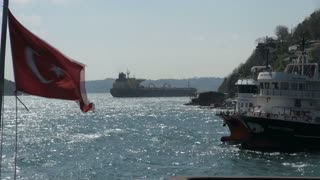 Turkish Ships on Bosphorus with Waving Flag