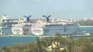 Twin Cruise Ships at Island Dock