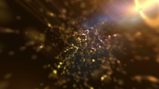 twinkling defocused dust particles abstract golden orange background