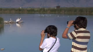 Two Boys Look At Birds With Binoculars