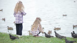 Two little girls at park feeding ducks bread