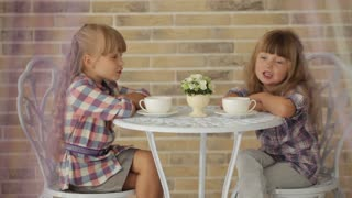 Two little girls sitting at table at cafe and talking over cup of tea