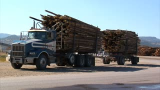 Two Log Trucks Pass Each Other On The Road