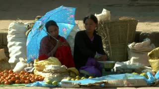 Two Nepali Women Selling Fruit at Market