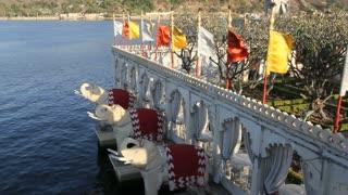 Udaiper Lake island Flags