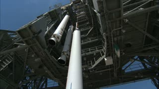 Underside Of Additional Rocket Engine Lifted By Crane