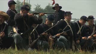 Union Cavalry Fires At Reenactment