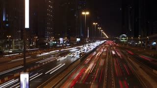 United Arab Emirates, Dubai, Sheikh Zayed Rd, traffic and new high rise buildings along Dubai's main road, T/Lapse