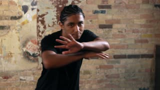 Upper Body of Young Man Hip Hop Dancing in Slow Motion