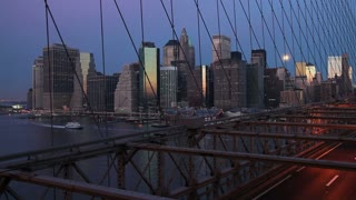 USA, New York City, Downtown Financial district of Manhattan and the Brooklyn Bridge