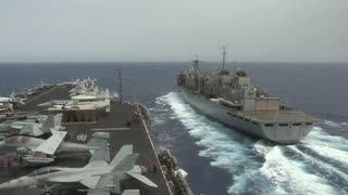 USS Nimitz Replenishment at Sea Alongside USNS Rainier