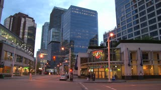 Vancouver Intersection In The Evening