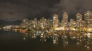 Vancouver Skyline At Night Time Lapse
