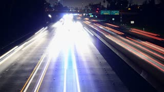 Vehicle Light Trails Leaving LA