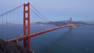 Vehicles driving across the Golden Gate Bridge from and to the city of San Francisco, California, USA. T/lapse