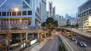 Vehicles moving along the Queensway in Central, Hong Kong, China, T/lapse